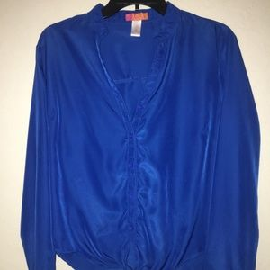 Catch My I Blue Tiefront Blouse Size XL
